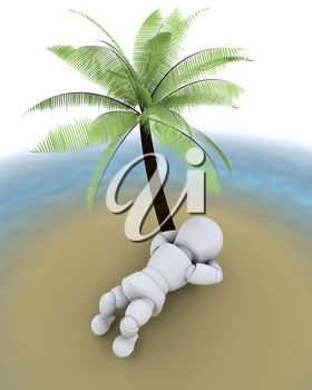 3d render of man on an island under a palm tree