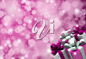 Valentines Day gifts on a glittery background