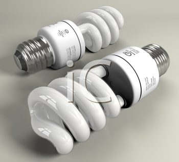 Royalty Free Clipart Image of Two Energy Saving Lightbulbs