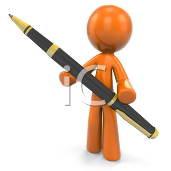 Royalty Free Clipart Image of a 3D Orange Man With A Ball Point Pen