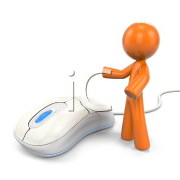 Royalty Free Clipart Image of an Orange Man With a Computer Mouse
