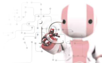 A red and white robot pointing his finger against a transparent window of circuitry and programming. Slight DOF