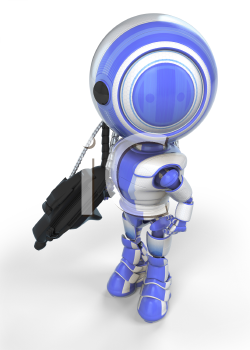 A robot soldier created for the sake of anti-spyware concepts.