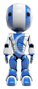 A blue robot standing straight up shown as a front view.