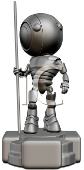 A robot standing on a trophy base. Created to appear as an award in robotics or engineering.