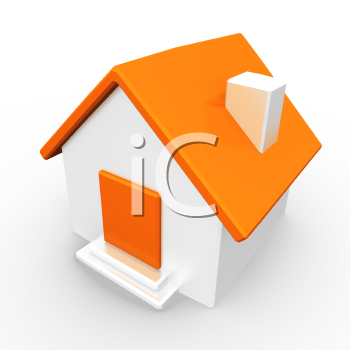 A small orange home, created as a simple representation of a home page or generic concept.