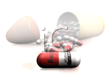 Pills spilling from a bullet -- a great concept in medication and drug addiction.