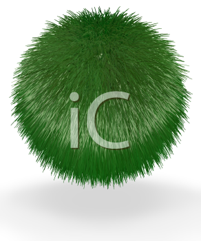 A ball of short grass suspended in the air. Good concept for most green and earth preservation concepts.