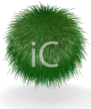A ball of long grass suspended in the air. Good concept for most green and earth preservation concepts.