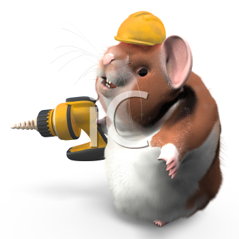 A professional hamster with a drill and hard hat ready to work.
