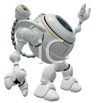 Royalty Free Clipart Image of a Robot Web Cam Reaching Up to the Sky.