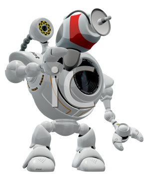 Royalty Free Clipart Image of a robot web cam pointing a ray gun.