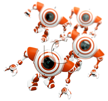 A group of robots standing together and looking up at the viewer in awe. Depth of field effect.