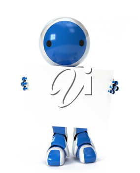Royalty Free Clipart Image of a Blue Robot with a Circle on his Face Holding a Blank Sign.