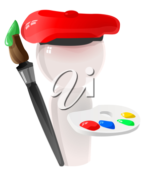 3D Illustration of a Painter Holding a Paint Brush and Palette