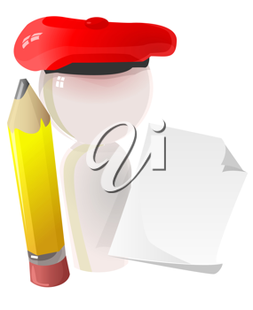3D Illustration of a Painter Holding a Pencil and Paper
