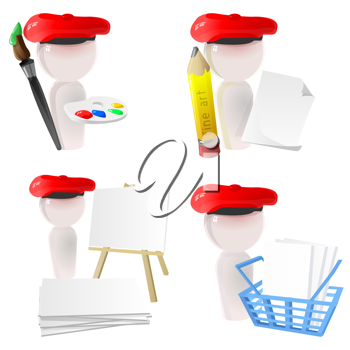 3D Illustration of a Group of Painters with Painting Supplies