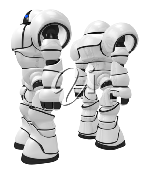 Royalty Free Clipart Image of Two Robots