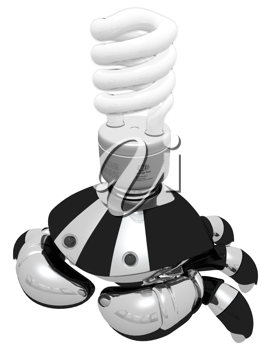 Royalty Free Clipart Image of a Robot Crab with a Lightbulb