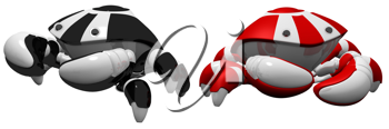Royalty Free Clipart Image of Two Robot Crabs
