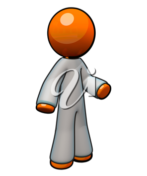 Royalty Free Clipart Image of an Orange Man Wearing Medical Coveralls