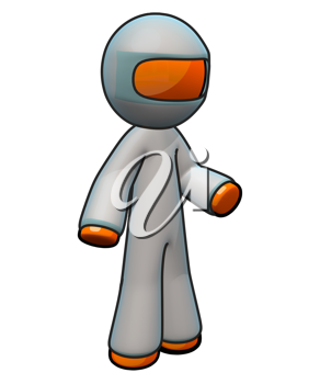 Royalty Free Clipart Image of an Orange Man Wearing a Protective Suit