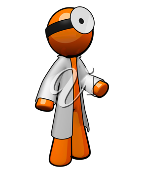 Royalty Free Clipart Image of an Orange Man Doctor Wearing a Lab Coat