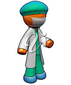 Royalty Free Clipart Image of an Orange Man Wearing Medical Scrubs, Lab Coat and Mask