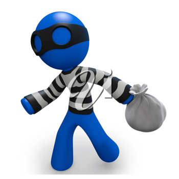 Royalty Free Clipart Image of a Blue Man Robber