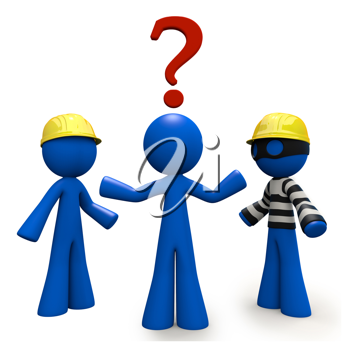 Royalty Free Clipart Image of a Blue Man Trying to Decide Between Two Contractors Where One is Dressed Like a Robber