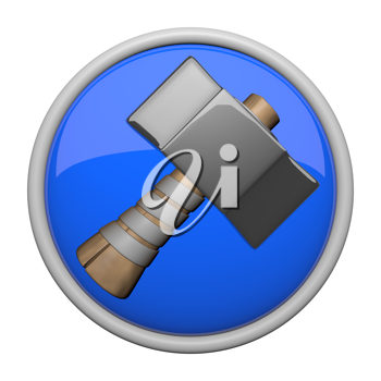 Heavy old fashioned hammer icon.