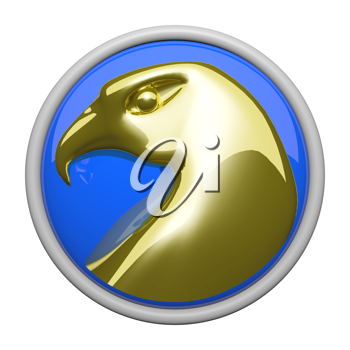 A gold eagle on a reflective bright blue background. Icon.