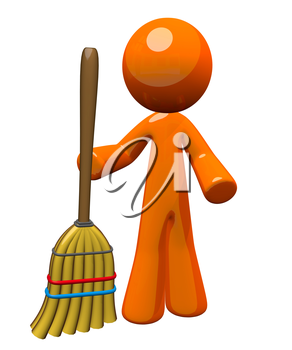 Orange Man holding a broom sweeping up, ready to clean or finished cleaning. Janitorial and groundskeeping image - also a symbol of work and chores expected of everyone.
