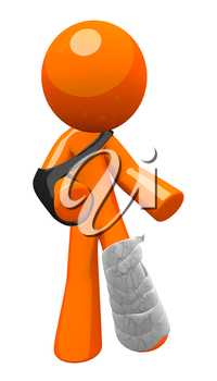 Orange man with a cast and sling, limping about. Injury, safety, and insurance illustration.