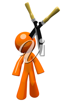 3d orange man injury law concept. Giant hedge clippers are stuck in his head. Should have been wearing a hard hat... Who gets to pay for the injury? Its a point of law! Well, its an image of law. Use