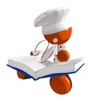 Orange Man Chef Reading Large  Recipe Cook Book While Sitting