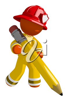 Orange Man Firefighter Drawing with Giant Pencil
