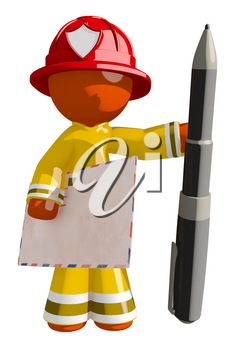 Orange Man Firefighter with Envelope and Giant Pen