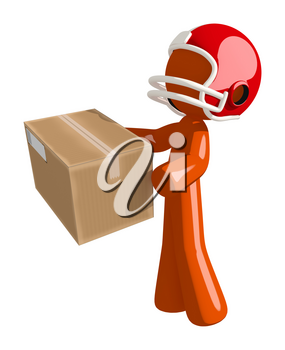 Super Bowl 50 football player getting a box in the mail or sending one out.