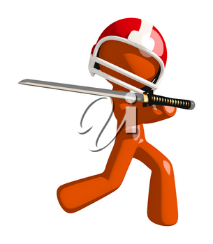 Football player orange man holding a ninja sword either posing defensively or cutting his own throat.