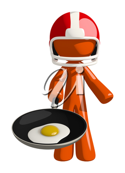 Football player orange man frying an egg as a metaphor in what he intends to do or has done to his opponent or competition.