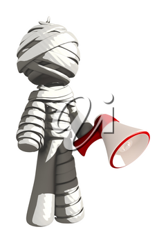 Mummy or Personal Injury Concept Standing Confident with Megaphone