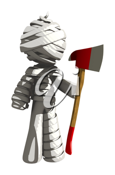 Mummy or Personal Injury Concept Ax Murderer Ready to Do Something Bad