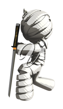 Mummy or Personal Injury Concept Kneeling Respectfully with Ninja Sword