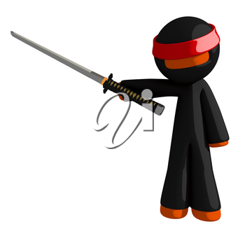 Orange Man Ninja Warrior Pointing with Sword