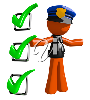 Orange Man police officer  Presenting Green Checkmark List