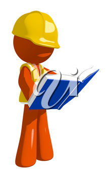 Orange Man Construction Worker  Standing Reading Book