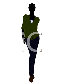 Royalty Free Clipart Image of a Woman in Casual Clothes