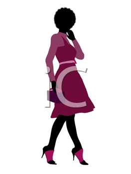Royalty Free Clipart Image of a Girl in Pink