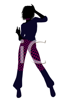 Royalty Free Clipart Image of a Girl in Checked Pants